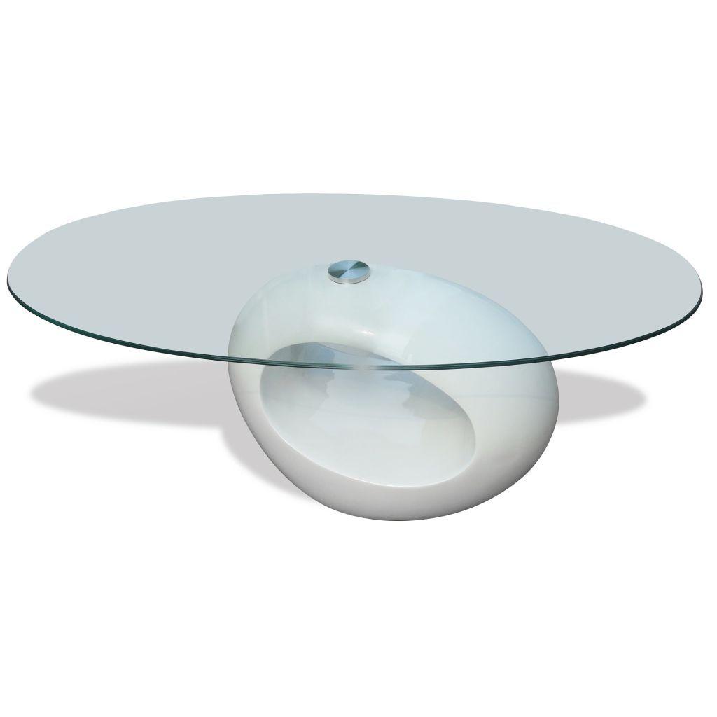 vidaXL Oval Coffee Table Nightstand Fiberglass Base Glass Top Multi Colors - White