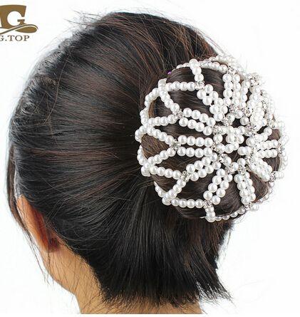 2016 new Women Girl Plain Colour Pearl Crochet Hair Snood Net ...