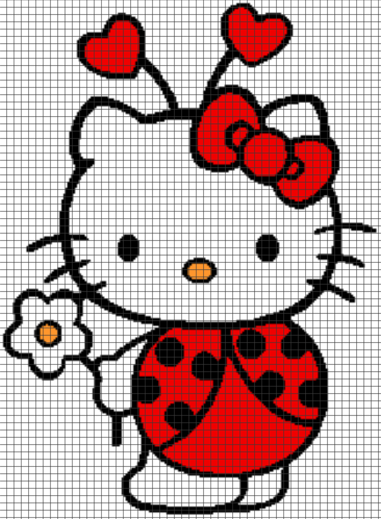 Hello kitty ladybug chartgraph and row by row written hello kitty ladybug chartgraph and row by row written instructions 07 bankloansurffo Image collections