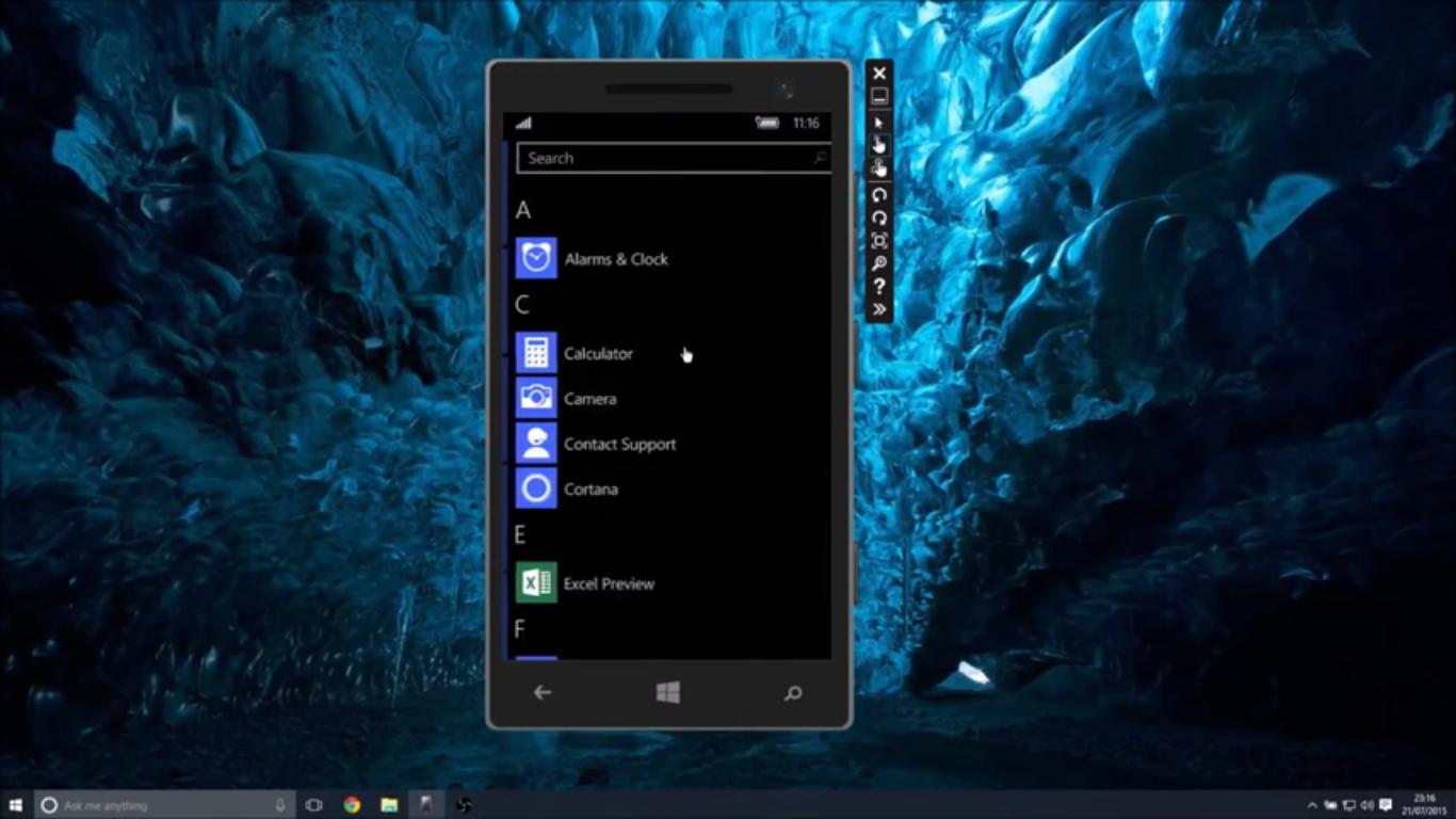 Microsoft released Windows Mobile 10 Build 10240 Emulator