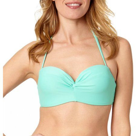 bd61b64abf4a6 Collections By Catalina Women s Solid Twist Bandeaukini Swimsuit Top ...