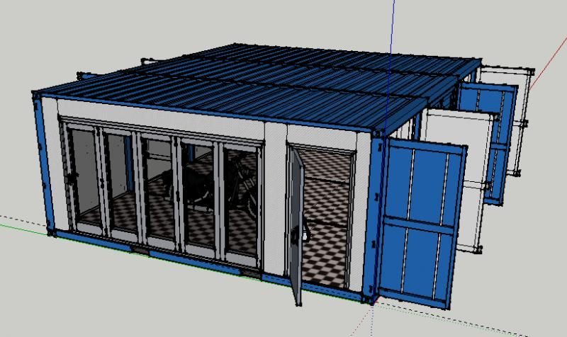 new shipping container garage plan weldingweb welding forum for pros and enthusiasts. Black Bedroom Furniture Sets. Home Design Ideas