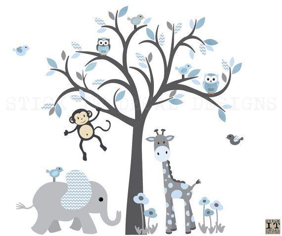 Jungen Zimmer Kinderzimmer Wandgestaltung Safari Wandkunst | Babyzimmer  Junge | Pinterest | Tree Decals, Wall Decals And Babies