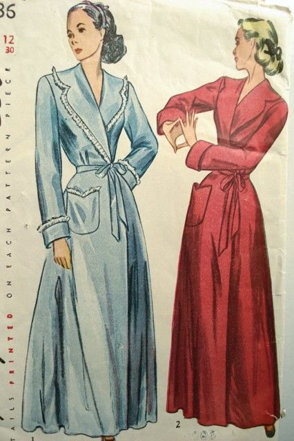 1940s PRETTY HOUSECOAT ROBE PATTERN SIMPLICITY 2236  26d6e763a