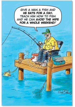 Old Fisherman Joke Birthday Father Humor Greeting Card Funny