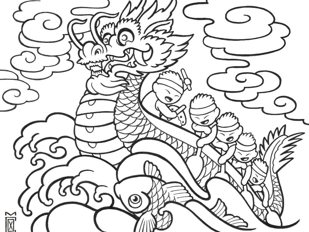 chinese coloring page dragon boat chinese coloring pages