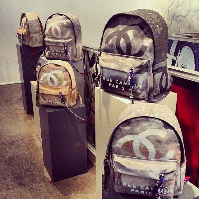 Chanel Grai Printed Canvas Backpack Via