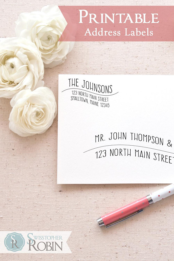printable return address labels template casual wave mailing