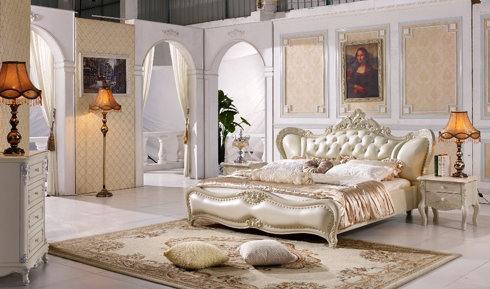 The Modern Designer Leather Soft Bed Large Double Bedroom Furniture American Style Cream Color Bedroom Furniture Bedroom Furniture Shops Bedroom Interior