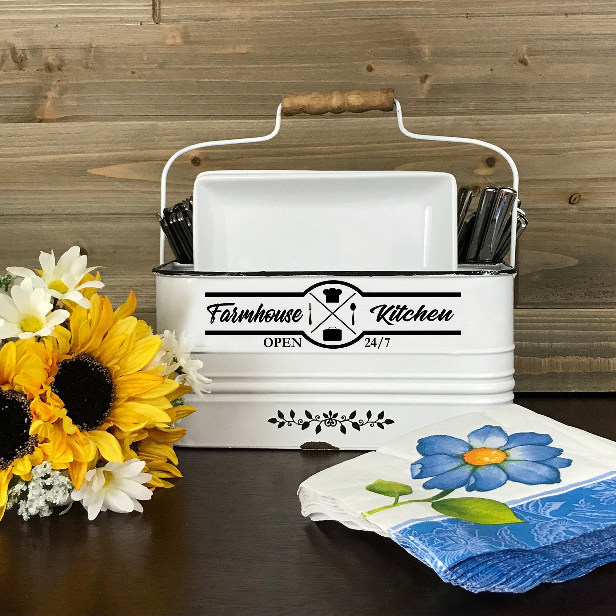 farmhouse napkin utensil holder kitchen storage container rustic silverware caddy country on farmhouse kitchen utensils id=48761