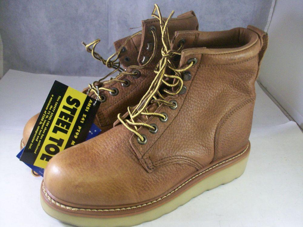 New Golden Retriever Men S Steel Toe Boot 06559 Brown Oil Wedge