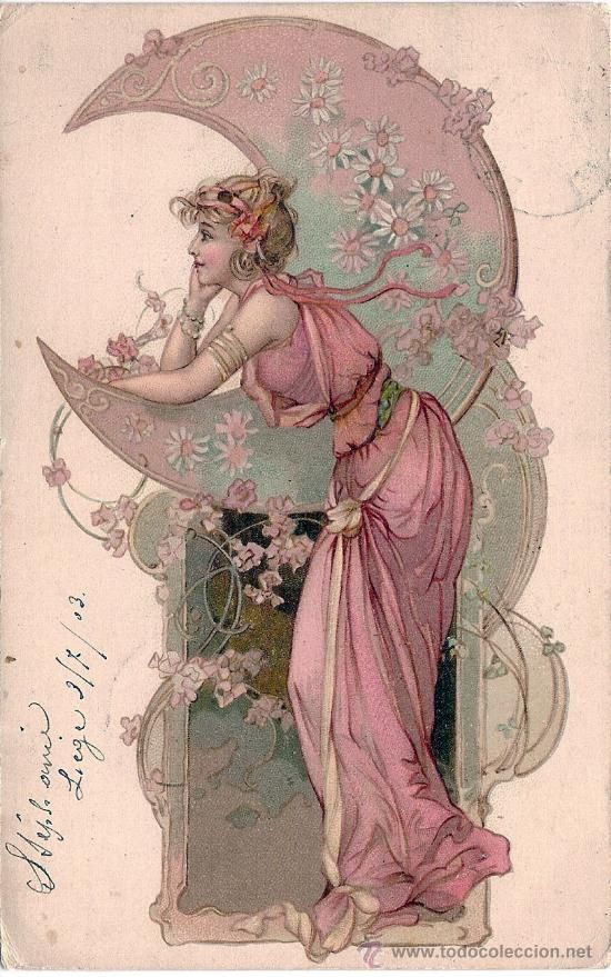 postcard art nouveau woman with moon circulated vintage pinterest moon woman and. Black Bedroom Furniture Sets. Home Design Ideas