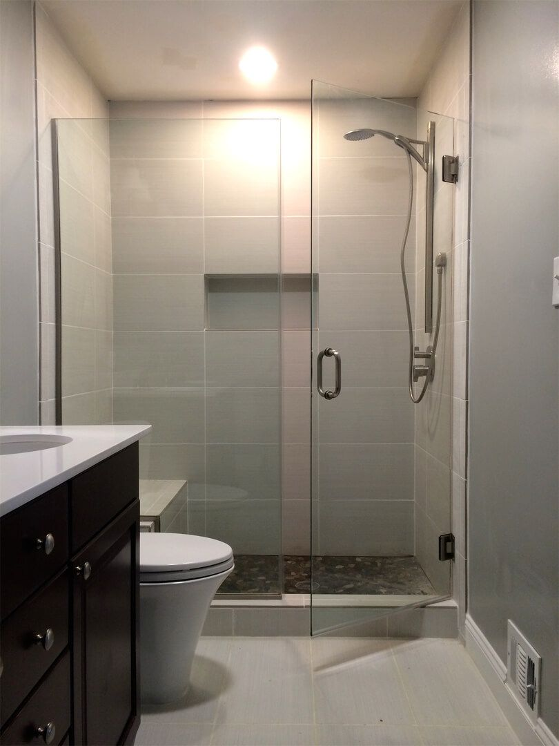 Frameless Inline Shower Glass Installed With Channels With Images Bathroom Shower Doors Glass Shower Doors Frameless Frameless Shower Doors