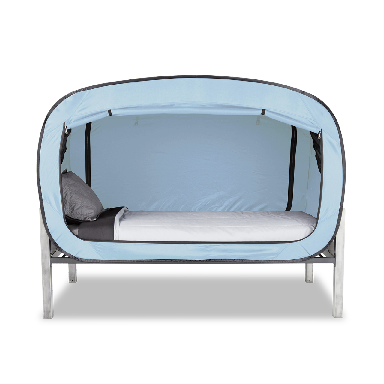 I *love* this idea for creating a sleep cocoon! Bed tent