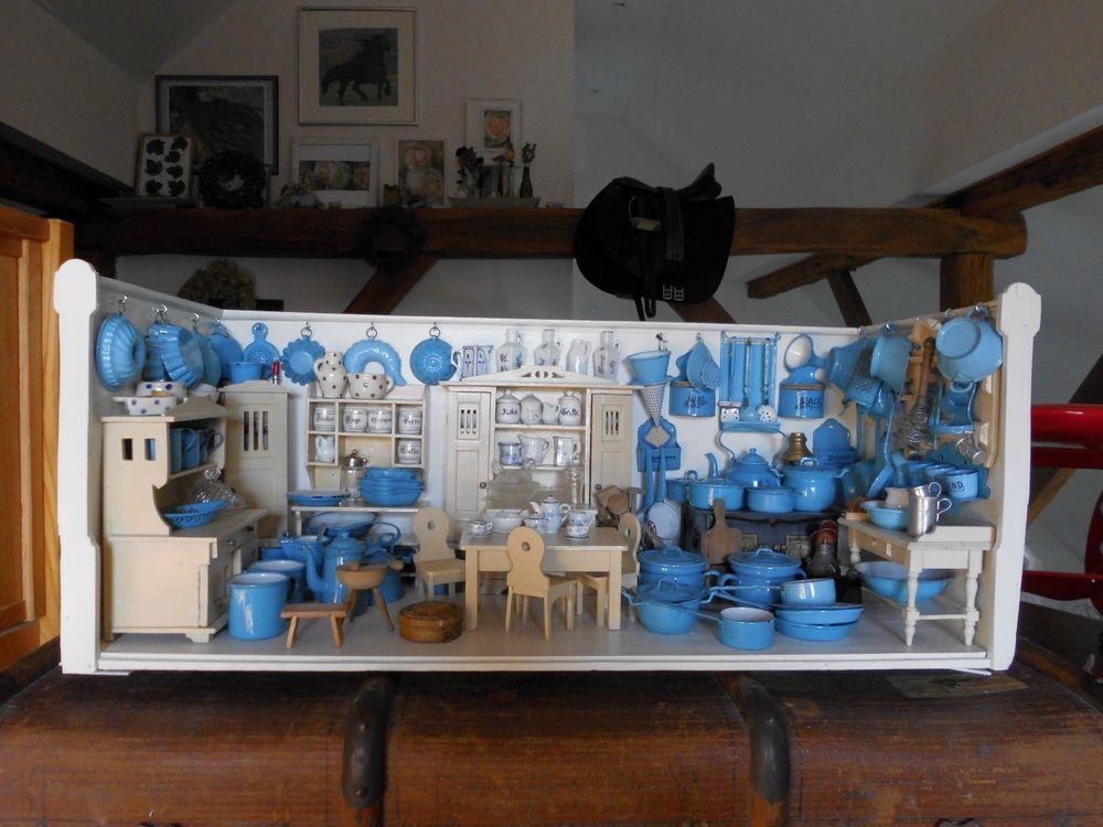 Alte Emaille Waschschüssel Puppenstube Puppenküche Puppengeschirr - halter für küchenrolle