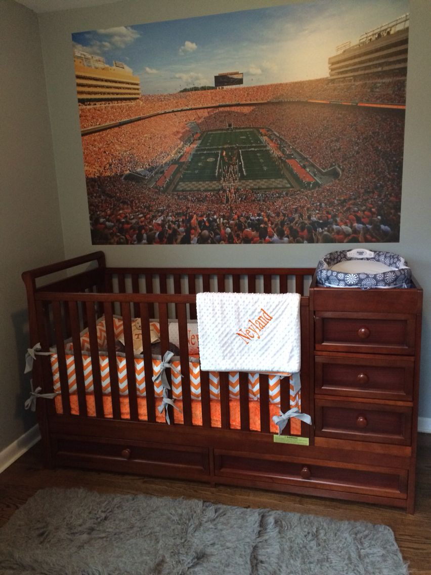 Orange And White University Of Tennessee Football Baby Room