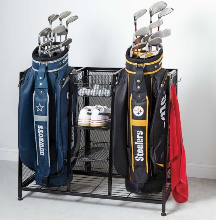 Golf Garage Organizer Club Storage Stand Metal Two Bags Balls Shoes  Equipment #Unbranded