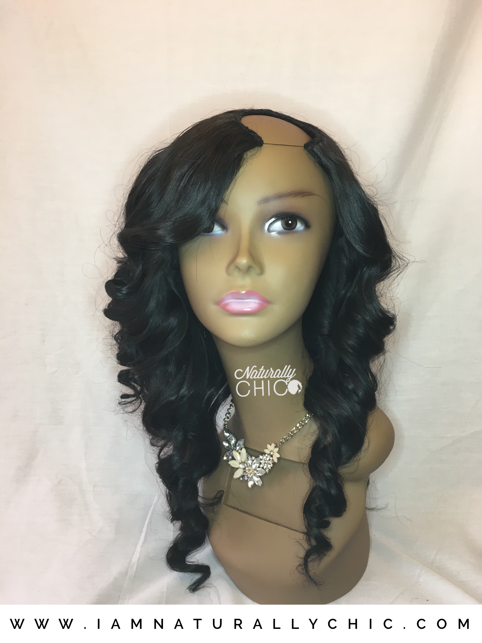 Custom U-Part wig, this unit you will leave hair out for a natural looking part. This unit is similar to a sewin.