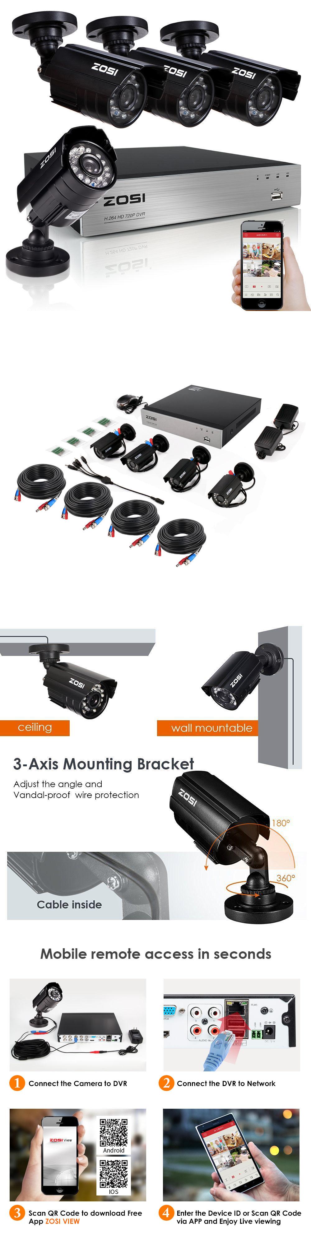 Surveillance Security Systems: Zosi Hd 720P 4Ch Hdmi Dvr 1500Tvl ...