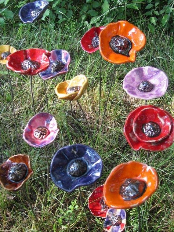 VENDUE décoration de jardin céramique fleur et papillon fuchsia ...