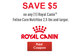 image about Royal Canin Printable Coupon identified as Exceptional* Royal Canin $5 Off Coupon Something Animals Print