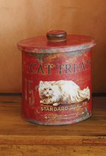 Vintage Style White Persian Cat Treat Tin Bin Container Can Red