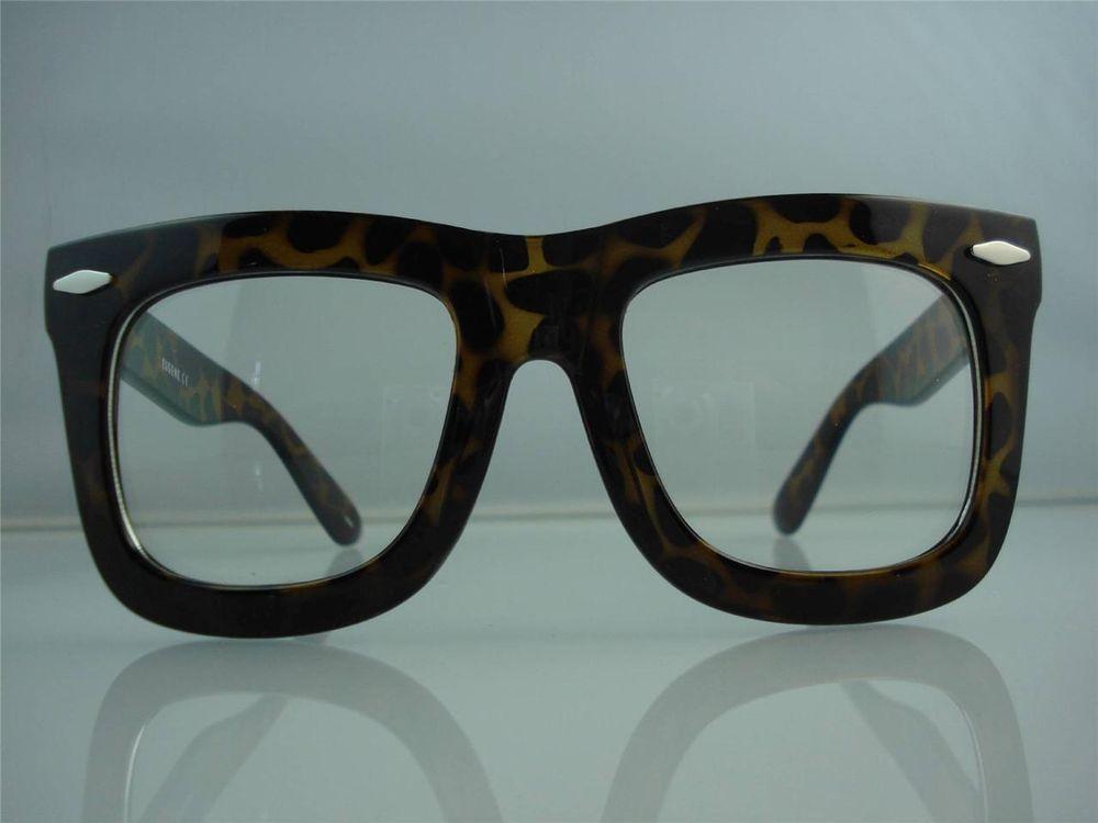 Large wayfarer clear lens yellow tortoise big eyeglasses