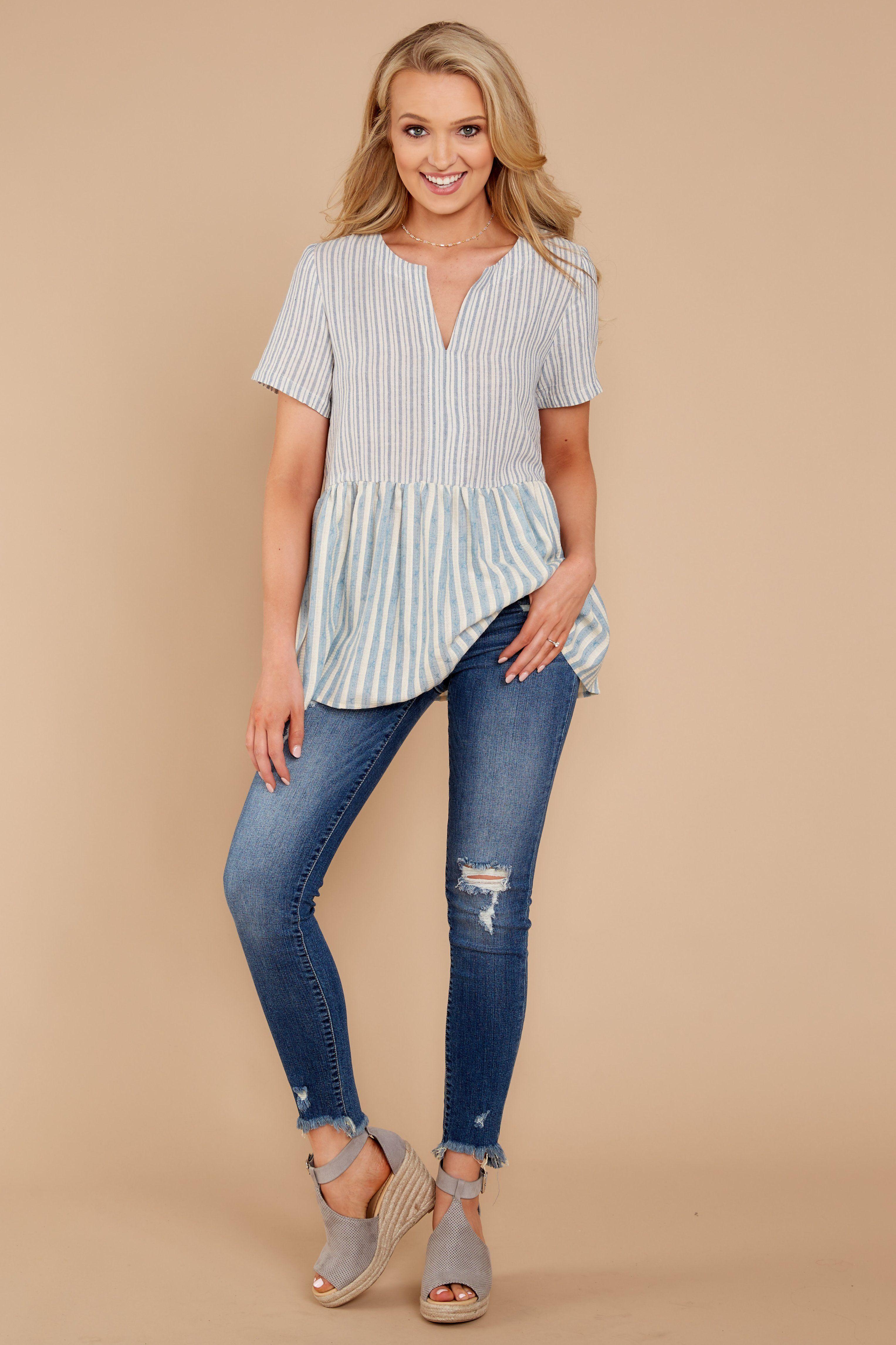 chic blue striped top  cute striped top  top  3800