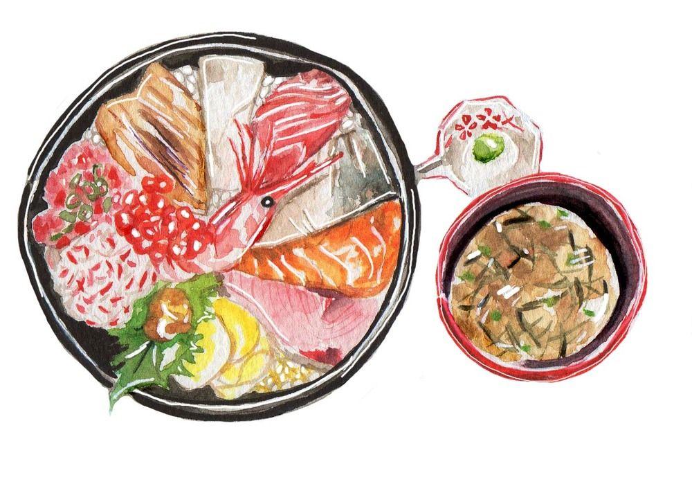 Kaisendon (Fresh Seafood Bowl) - Watercolour illustration