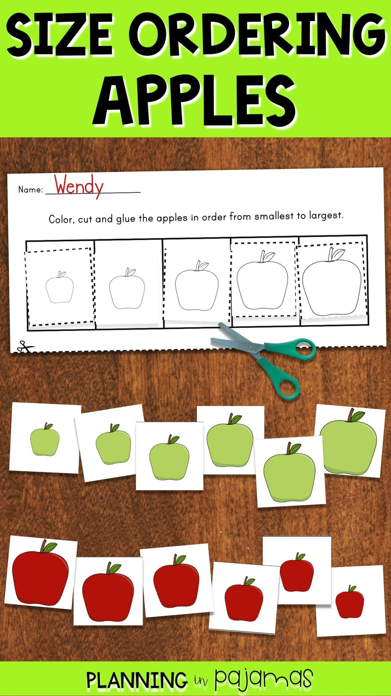 Size Ordering Activity To Include In A Fall Or Apples Theme 3 Sets Of Size Ordering Cards And 2 Worksheet Apple Preschool Apple Kindergarten Apple Theme Math [ 2249 x 1265 Pixel ]