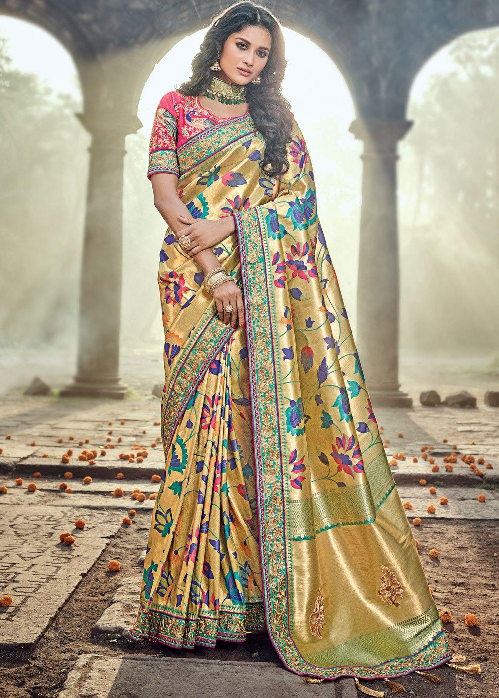 Indian Saree Sari Bollywood Ethnic Yellow Woven Banarasi Art Silk 1055