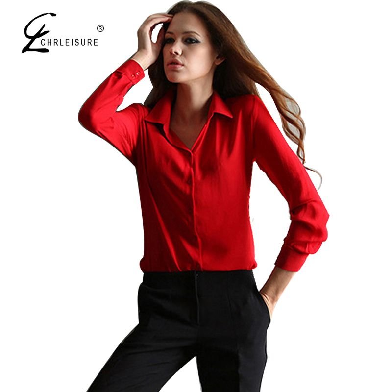 >> Click to Buy << CHRLEISURE Casual Ladies Office Shirts Women Fashion Chiffon Long Sleeve Shirt Women Solid Tops S-2XL 5 Colors #Affiliate