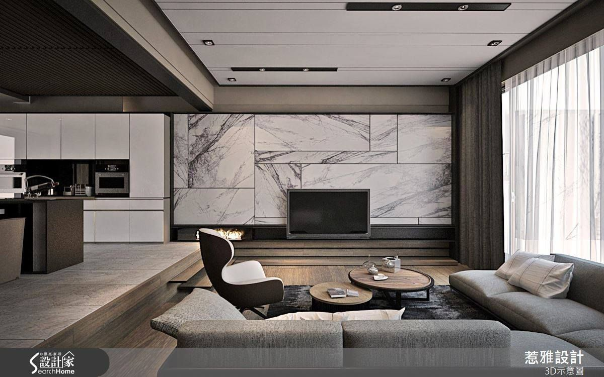 Different Shapes Marble Tile Contemporary Pinterest Living