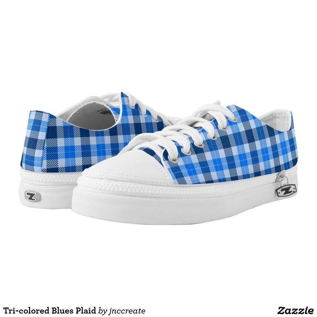 Tri-colored Blues Plaid Printed Shoes