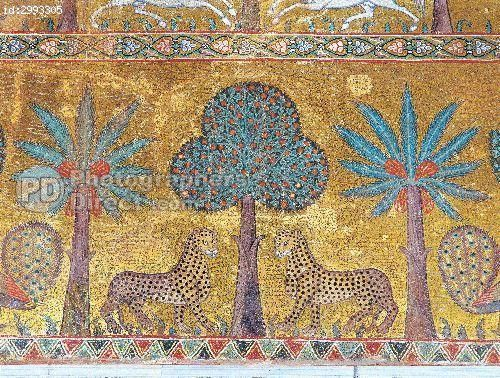 Byzantine Art : Mosaic with vegetations and leopards . Detail . Decoration of the hall of King Roger II ( Ruggero ) at Palace of the Normans ( Palazzo dei Normanni ) to Palermo . 12th century Sicily stock photo