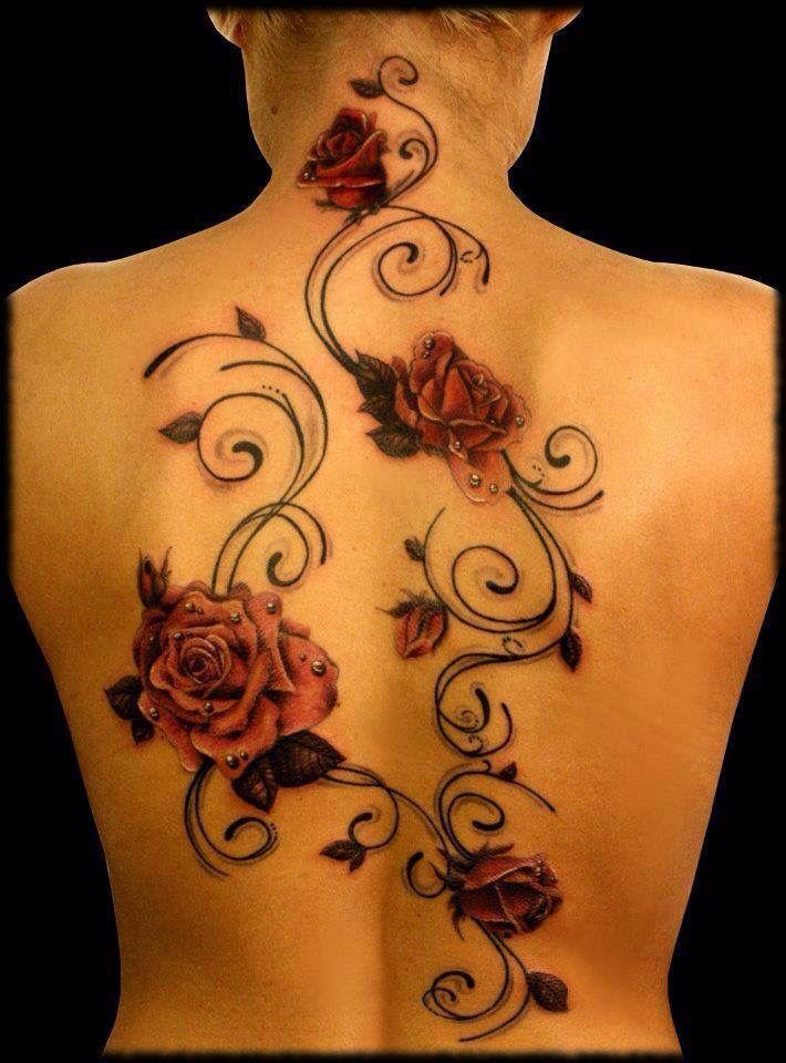 Flores En La Espalda Tatuaje De Enredadera Tatuaje De Vino Tatuajes Cuello