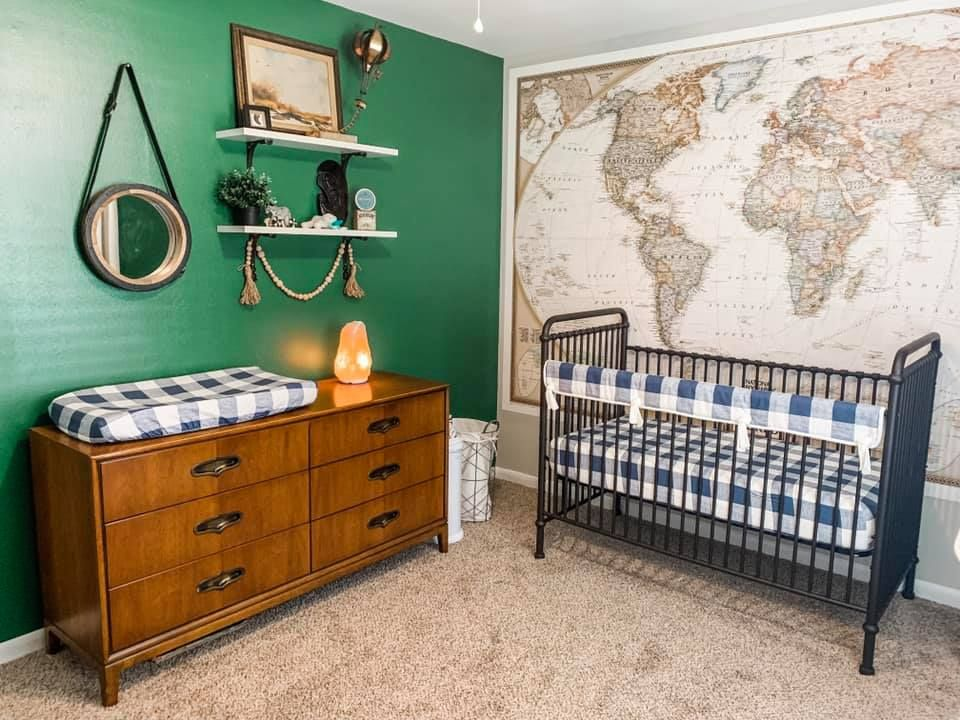 A Travel Themed Nursery Vintage Style Project Nursery In 2020 Travel Theme Nursery Nursery Themes Baby Boy Room Themes