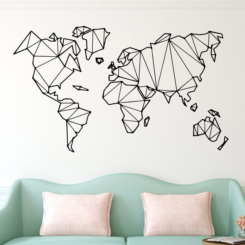 Large Size Geometric World Map Wall Sticker Vinyl Mural Removable Bedroom Decor Stickers Home Living Room D In 2020 World Map Wall Decal World Map Wall Map Wall Decor #wall #decoration #stickers #for #living #room
