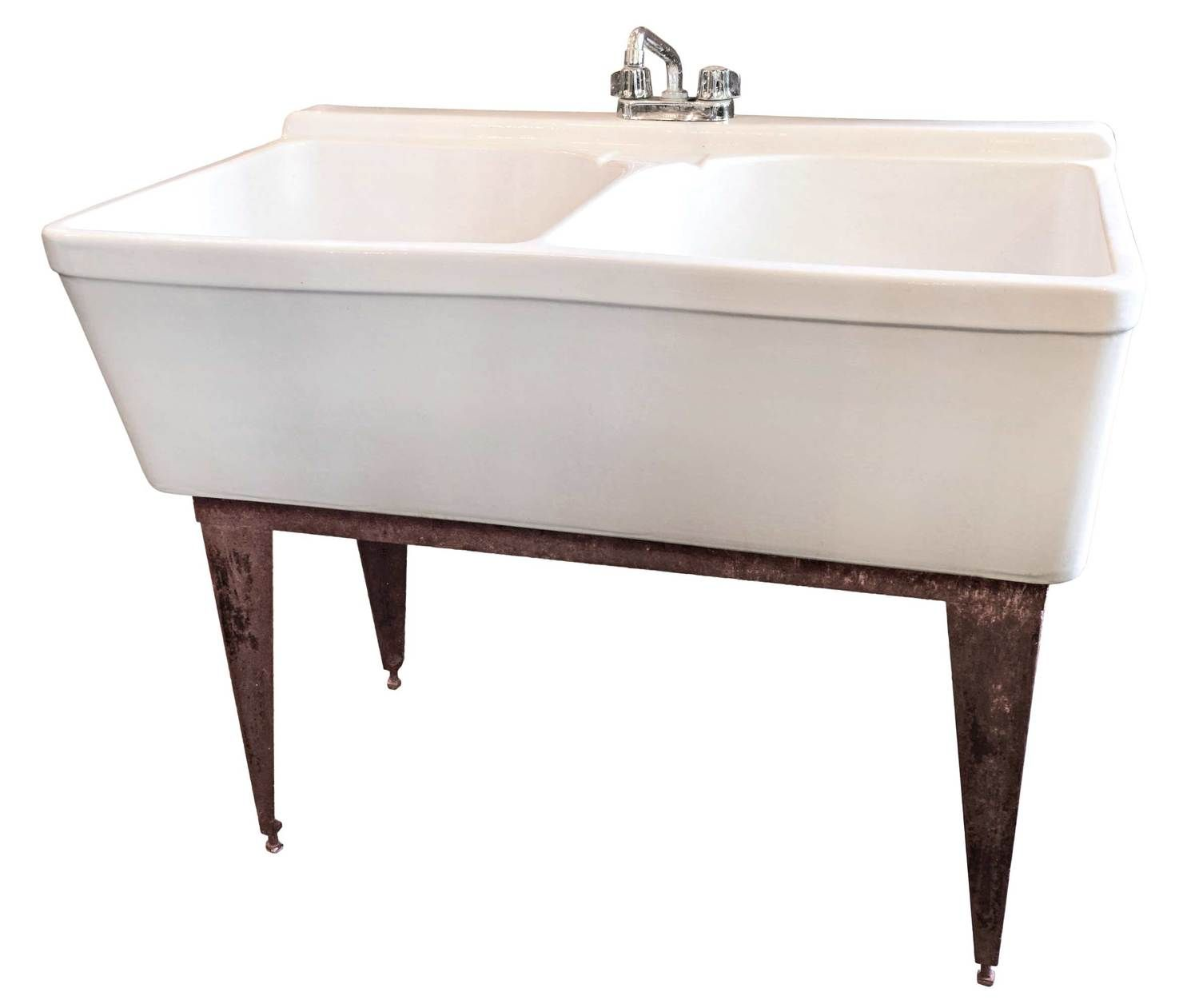 AA# 46407 Porcelain Laundry Sink By Crane With Two Deep Basins, Center Soap  Holder, Cast Iron Base, And Chrome Gerber Faucet.