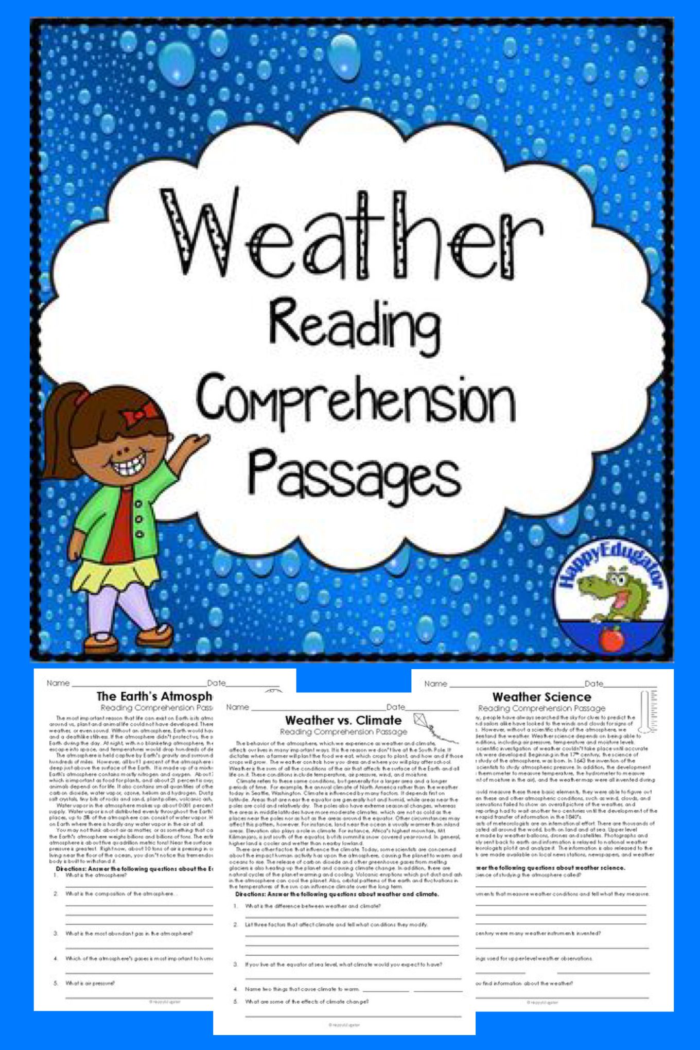 Weather Reading Comprehension Passages And Questions