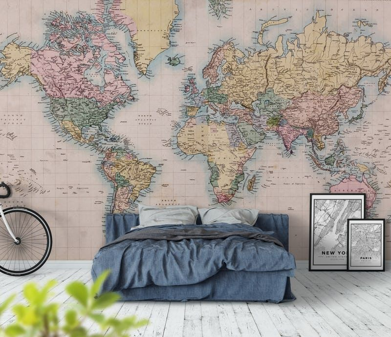 Vintage world map wall mural wall murals wallpaper paste and vintage world map wall mural gumiabroncs Image collections