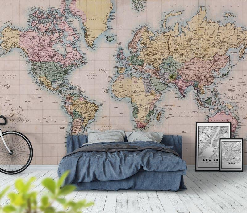 kart tapet Antikk Retro Kart Verden fototapet/tapet fra Happywall | Kontor  kart tapet