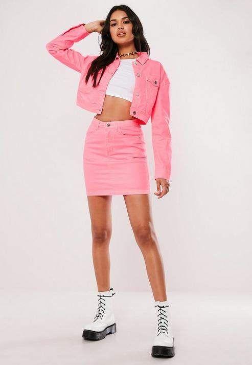 af1da3175f7d Petite Neon Pink Contrast Stitch Co ord Denim Skirt in 2019   Wish ...