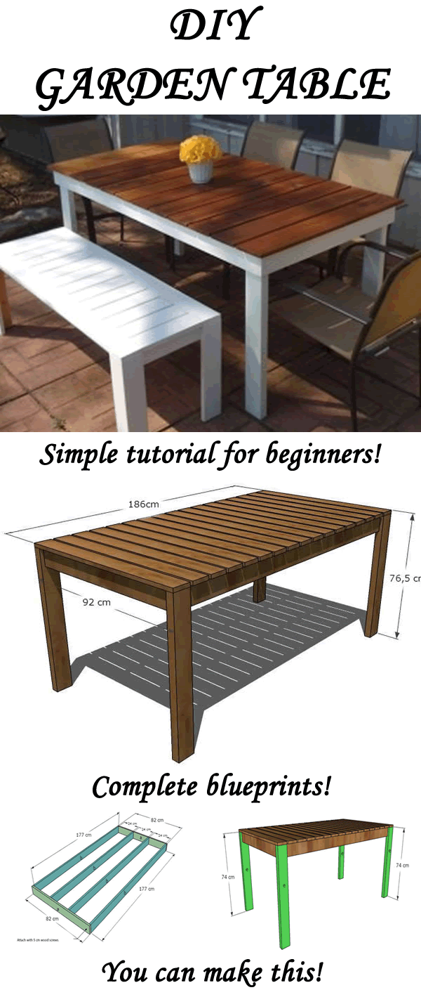 How to make your own garden table is part of garden Table Plans - Best detailed and and free instructions on how to make your own garden table!