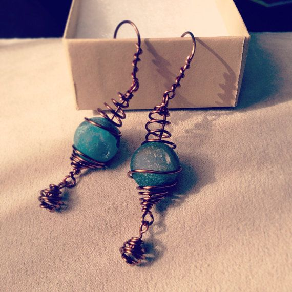 Blue Druzy Agate Wire Wrapped Coil Earrings on Etsy, $20.60