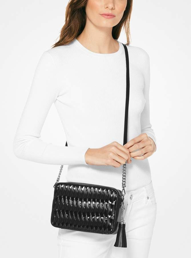 2d21c3159 MICHAEL Michael Kors Ginny Woven Leather Crossbody | Products ...