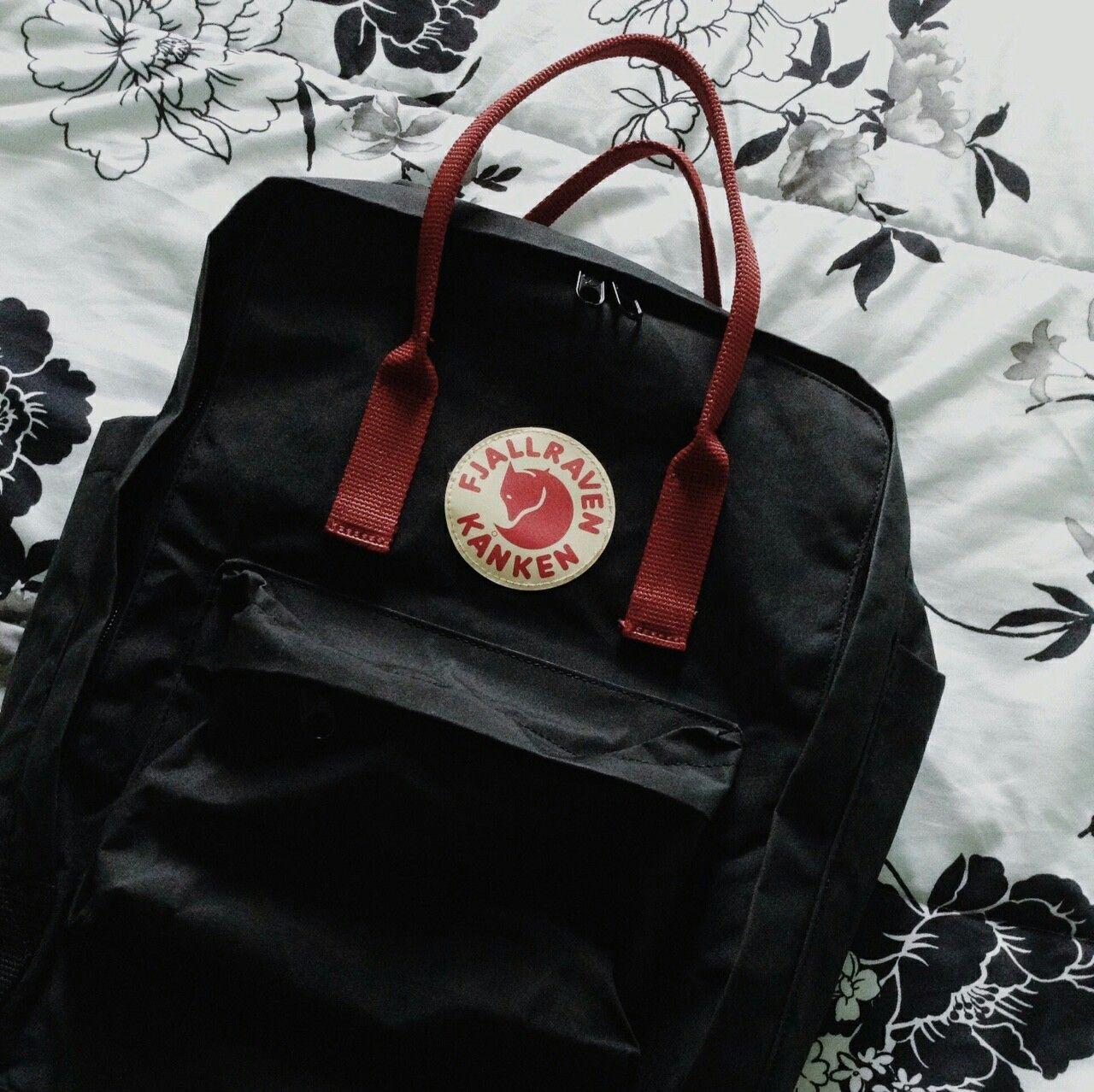 rucksack fjällräven black ox red