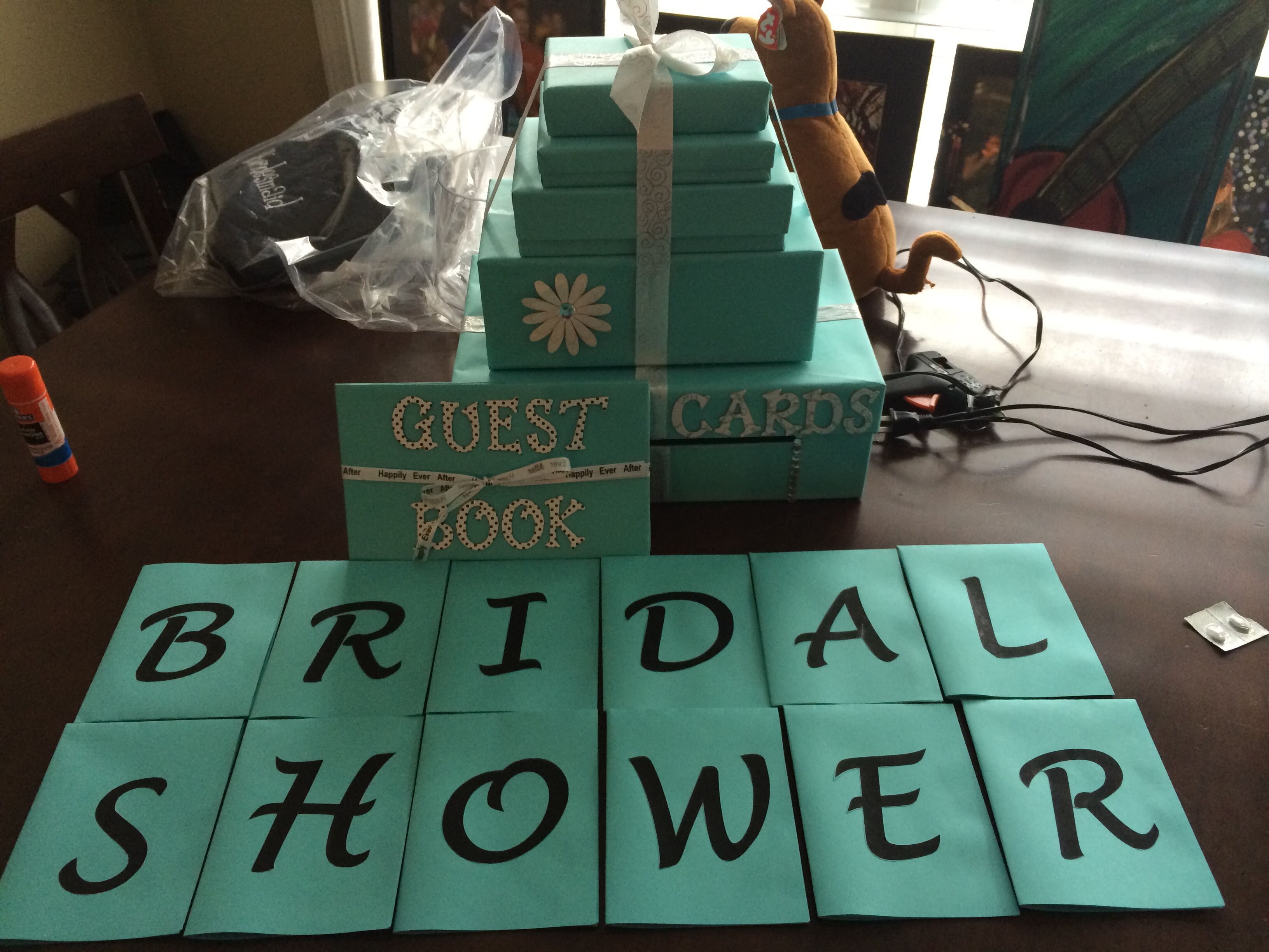 Handmade bridal shower essentials card box guest book and sign