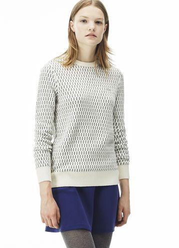 b6d5d8dd99 Sweatshirt col rond Lacoste LIVE en jacquard bicolore | PAP FEMME ...