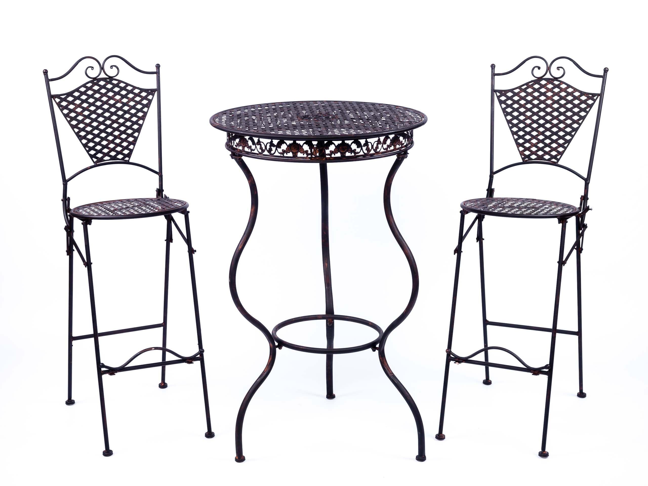 Gartenmobel Eisenmobel Stehtisch Mit Zwei Barhocker Antik Stil Eisen Braun Stehtisch Barhocker Eisenmobel